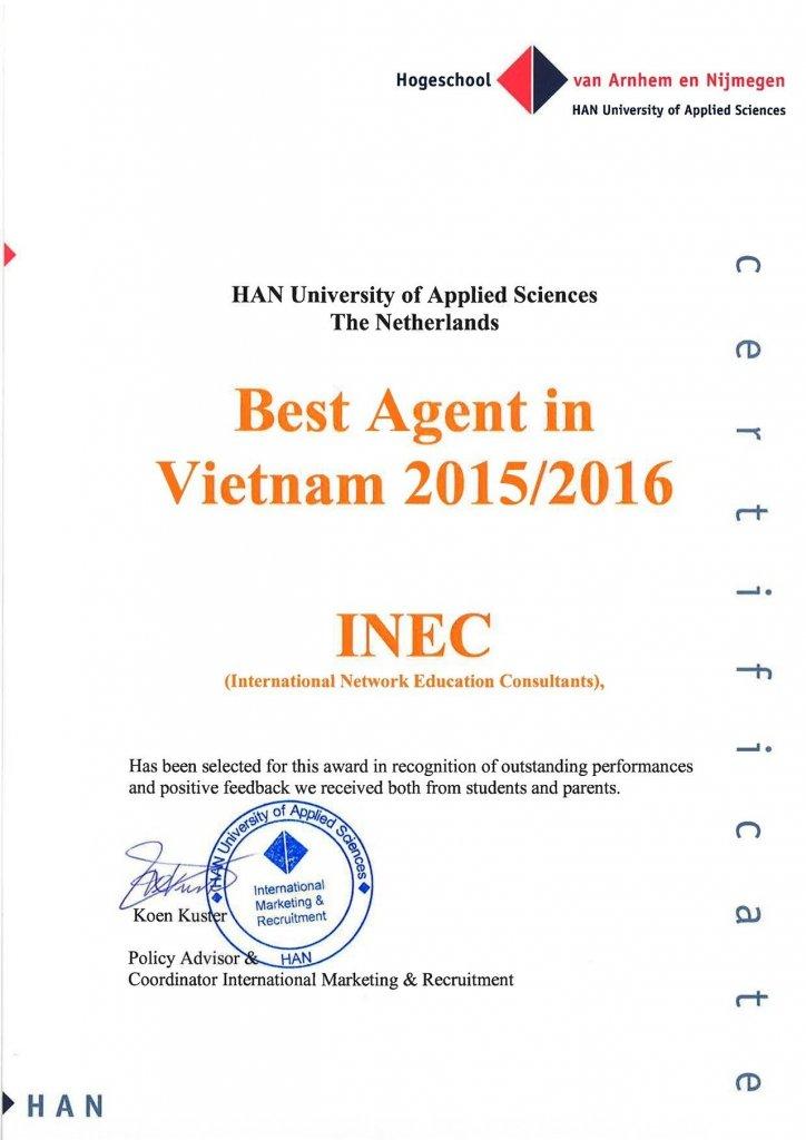 Chứng chỉ do Đại học KHUD HAN trao tặng cho INEC